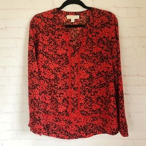 [Michael Kors] red and black printed blouse Medium